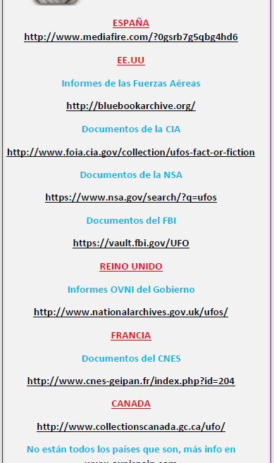 Triptico desclasificaicón documentos Ovni