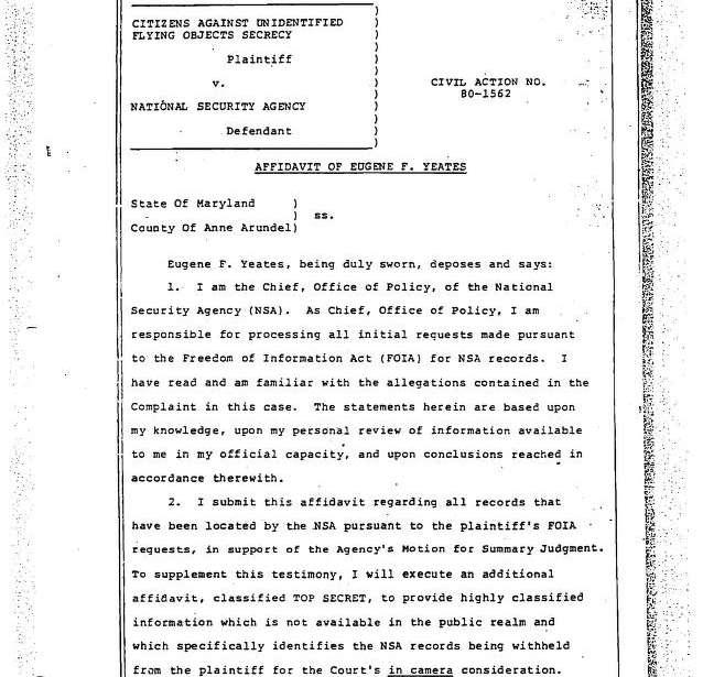 NSA UFO files