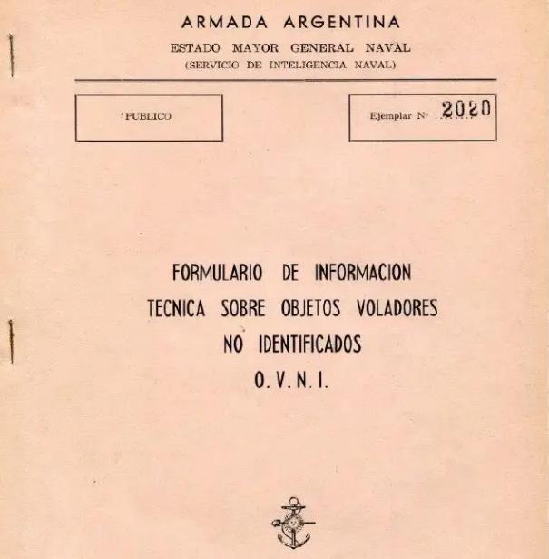Formulario OVNI de la Armada Argentina, 1962.