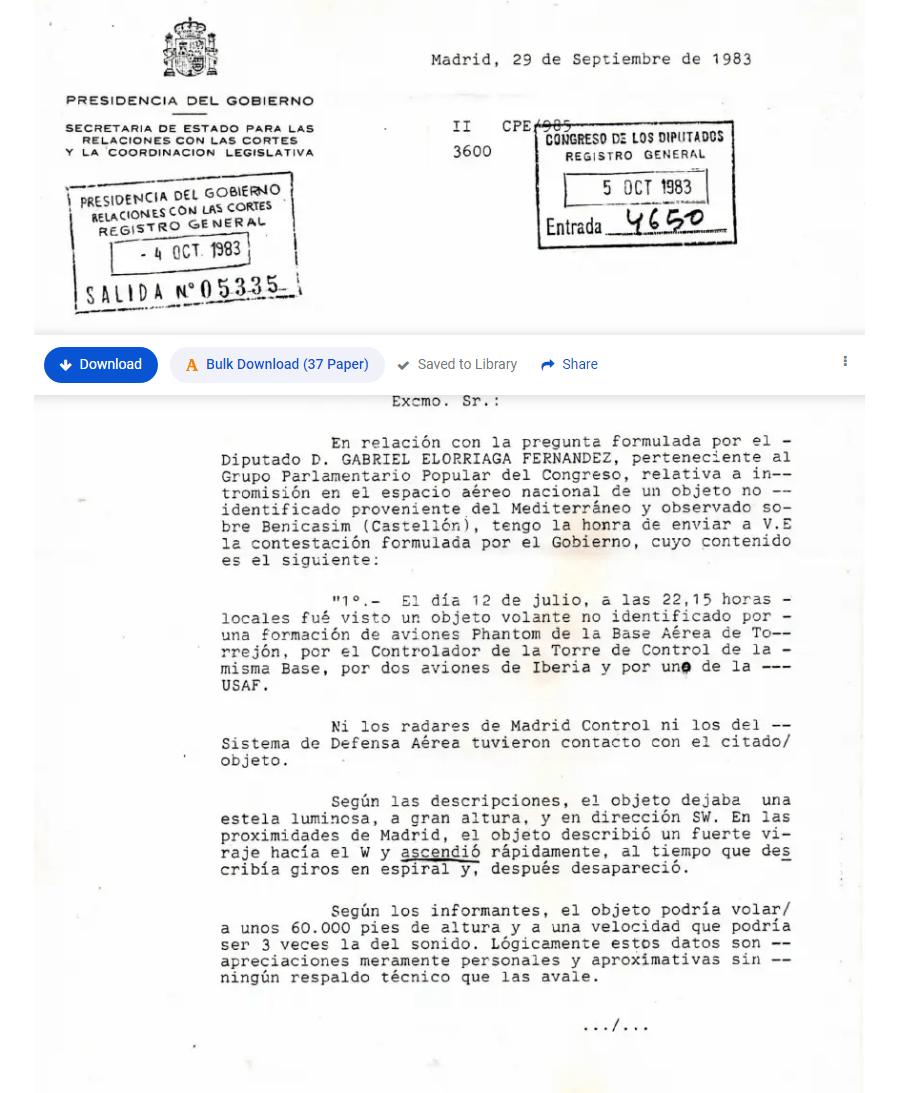 Presidencia del Gobierno. Pregunta parlamentaria, OVNI 12-7-1983